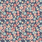 Lewis & Irene Flo's Little Flowers - 5005 - Pink & Blue Floral on Navy - FLO4-4 - Cotton Fabric